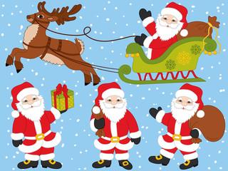 Vector Santa Claus and Christmas Elements Set