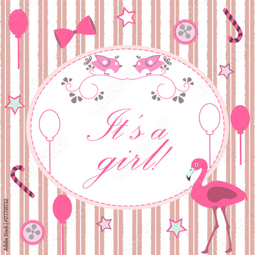 it s a girl announcement baby shower collection vector