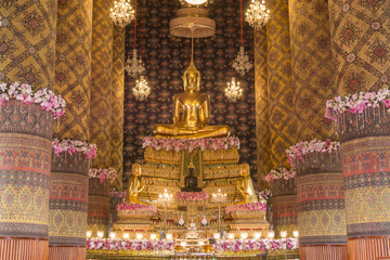 The buddha statue in chapel Thailand.