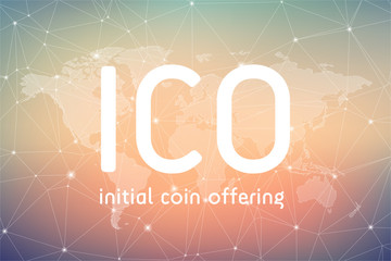 ICO initial coin offering futuristic background with world map and blockchain peer to peer network. Global cryptocurrency ICO coin sale event - blockchain business banner concept.