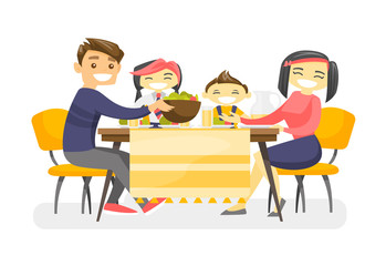 Cheerful multiethnic family sitting around the table and eating dinner. Asian mother and caucasian white father with their biracial kids enjoying a good meal. Vector isolated cartoon illustration.
