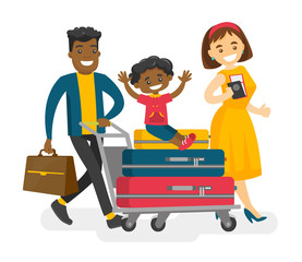 African husband pushing a luggage cart with suitcases and his mulatto son while his caucasian white wife walking nearby. Multicultural family traveling abroad. Vector isolated cartoon illustration.