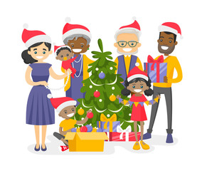 Big happy multiracial multigenerational family decorating the Christmas tree. Cheerful biracial grandparents, parents and mulatto kids celebrating Christmas. Vector isolated cartoon illustration.