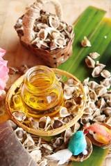 Moringa oleifera oil and seeds on wood background