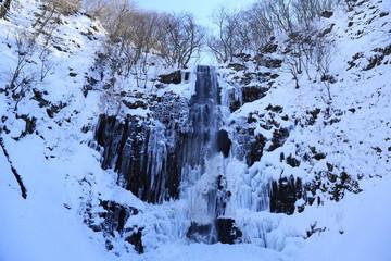 玉簾の滝 氷瀑 Frozen waterfall Tamasudarenotaki, Sakata, Yamagata, Japan