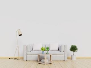 Modern interior living room with sofa. 3d illustration