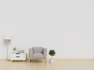 Modern interior living room with armchair and cabinet. 3d illustration