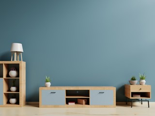 Tv shelf in the living room with blue walls. 3D Rendering