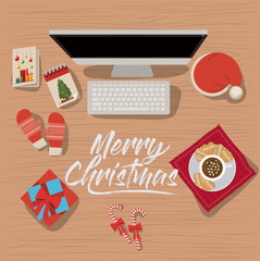 christmas desktop computer scene in top view with decoration and gifts