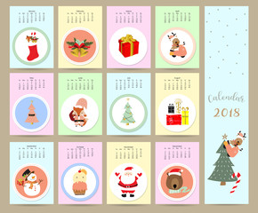 Colorful cute monthly calendar 2018 with wild,fox,bear,snowman,gift,christmas tree.Can be used for web,banner,poster,label and printable