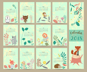 Colorful cute monthly calendar 2018 with wild,fox,bear,leaf,stump,flower,penguin and porcupine.Can be used for web,banner,poster,label and printable