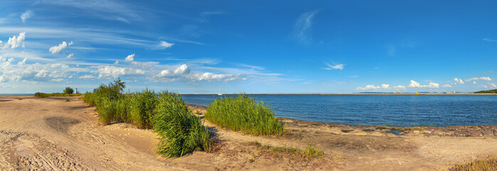 Panoramic image of a mouth of Swina river in Swinoujscie, Poland
