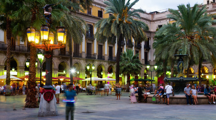 Self adhesive Wall Murals Barcelona Nightlife of Placa Reial in Barcelona