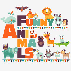 Big funny animal set in bright colors made of wild and domestic animals