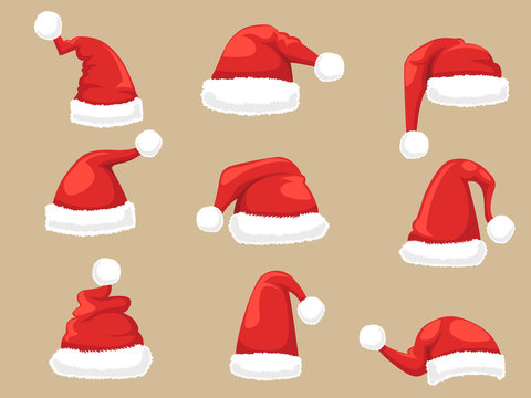 Santa Claus hat set. Collection of Christmas and New Year hats