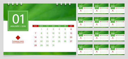 Calendar 2018 week start on Sunday corporate business luxury design layout template vector. Green leaf closeup background sample image with Gradient Mesh.