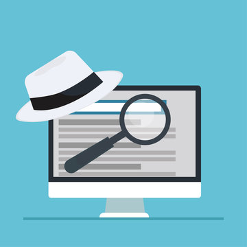 White hat seo banner. Magnifier, and other search engine optimization tools and tactics