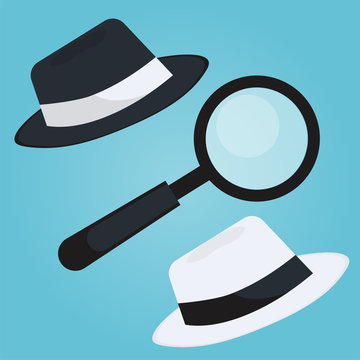Black hat seo banner. Magnifier, and other search engine optimization tools and tactics