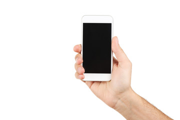 Male hand holding smartphone on white background