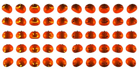 3D Rendering light up and normal of Hungry Jack O Lantern or Halloween Pumpkin Head With 25 Difference angle  Isolated White Background.