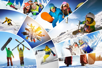 In de dag Wintersporten Mosaic collage ski snowboard winter sports
