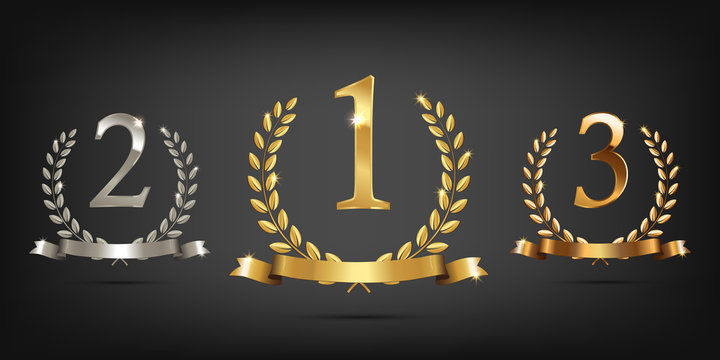 Golden, silver and bronze laurel wreaths with ribbons and first, second and third place signs. Winner podium sports symbols. Vector illustration.