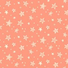 Seamless pattern with hand drawn stars. Scandinavian style