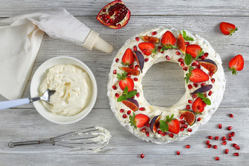 delicious pavlova cake with whipped cream