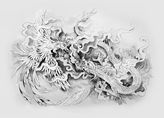 Sketch of the mythological battle of dragon and phenex on a white background.