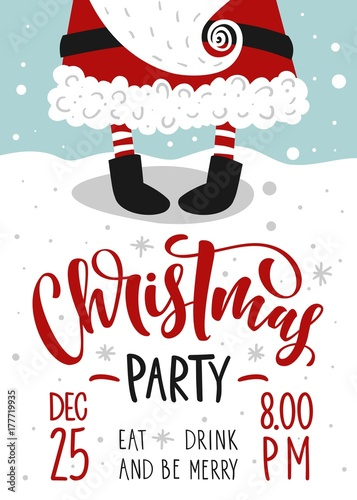 Christmas Party Invitation Vector Template With Calligraphy And