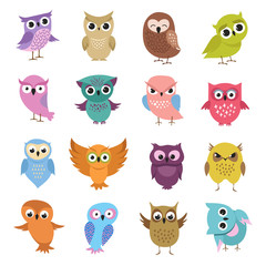 Cute cartoon owls. Funny forest birds vector collection