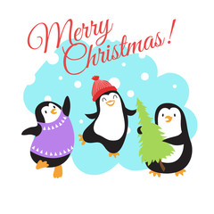 Christmas winter holidays vector greeting card with cute cartoon penguins
