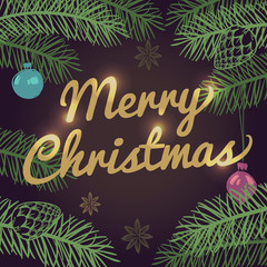 Merry Christmas vector background with pine tree branches and balls