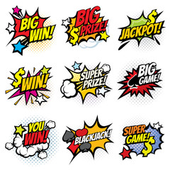 Vintage pop art comic bubbles with gambling winning words vector set