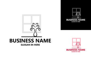 Flowers in the Window Logo Template Design