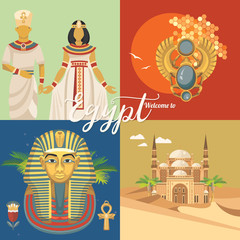 Egypt travel vector. Egyptian traditional icons in flat design. Holiday banner. Vacation and summer.