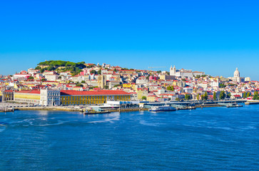 Port of Lisbon. Skyline of Alfama. Colorful image.