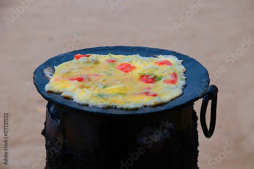 Preparation of the typical street food in Uganda and East