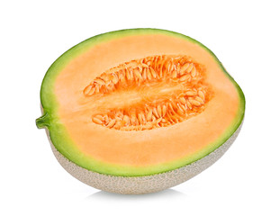 half of japanese melons, orange melon or cantaloupe melon isolated on white background