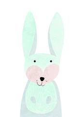 blue rabbit, illustration for nursery