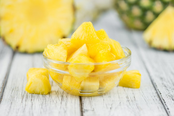 Portion of Pineapple (sliced), selective focus