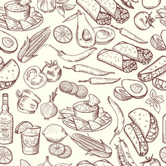 Seamless pattern with traditional mexican food. Vector pictures set