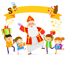 Sinterklaas dancing with happy children