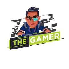 Gamer logo, hardcore gamer character design playing game by personal computer concept - vector