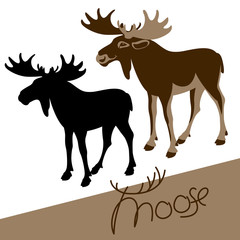 moose vector illustration flat style profile side black silhouette