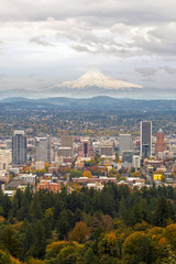 Portland Cityscape and Mount Hood in Fall