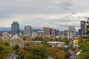 Portland Skyline and Mount Hood in Fall Season