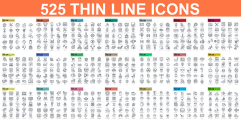 Simple set of vector thin line icons. Contains such Icons as Business, Marketing, Shopping, Banking, E-commerce, SEO, Technology, Medical, Education, Web Development, and more. Linear pictogram pack. Fototapete