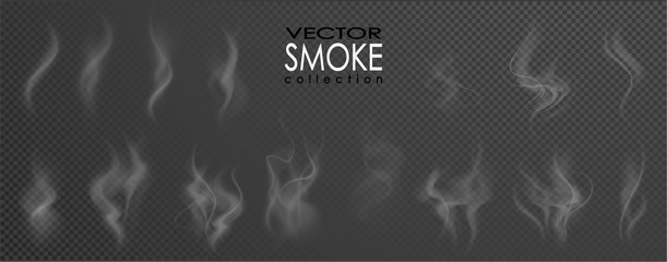 Smoke vector collection, isolated, transparent background. Set of realistic white smoke steam, waves from coffee,tea,cigarettes, hot food,... Fog and mist effect. Wall mural
