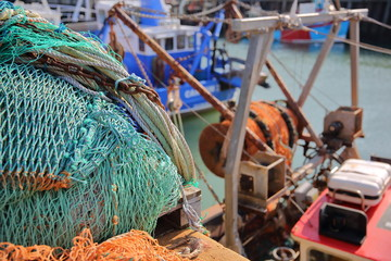 Colorful fishing nets at the fishing Harbor in Whitstable, UK